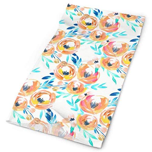 THAIDIY Summer Tropics Peach Turquoise Floral Outdoors & Daily Headwear,Bandana,Headband,Neck Gaiter,Balaclava,Helmet Liner for Running Riding Skiing Hiking19.7x9.85 inch/25x50cm