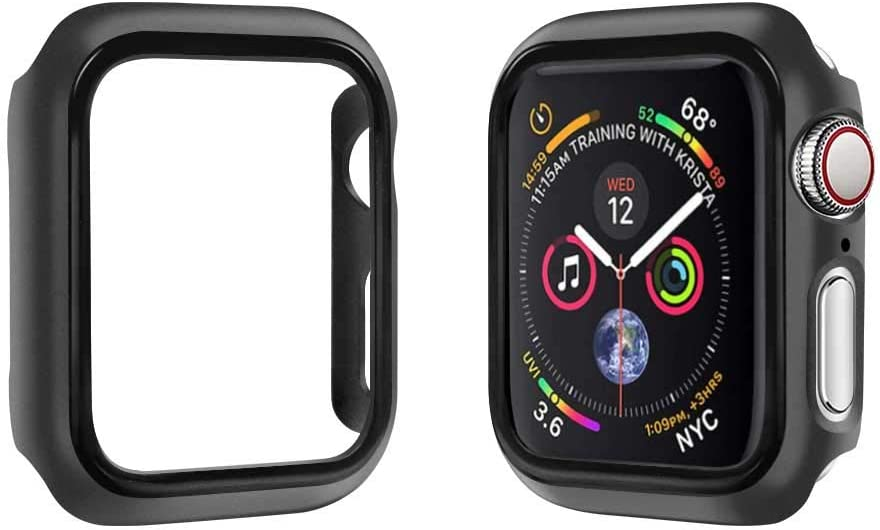 top4cus Environmental PC Slim Lightweight Electroplated Protective Iwatch Case Protector Bumper Compatible Apple Watch Series 5 Series 4 Series 3 Series 1 Series 2 - Carbon Black,44mm