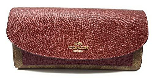 Coach Gift Box Slim Envelope Wallet (Khaki/Metallic Cherry) (Metallic Cherry)
