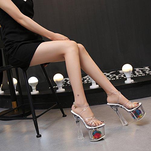 Xing Lin Zapatos De Verano Para Las Mujeres Cuñas Señor Crystal Clear 18Cm/20Cm Ultra-Alta Con Taiwán Impermeable Grueso Con Noche De Alta-Heel Shoes Sandalias De Mujer Transparent 18cm