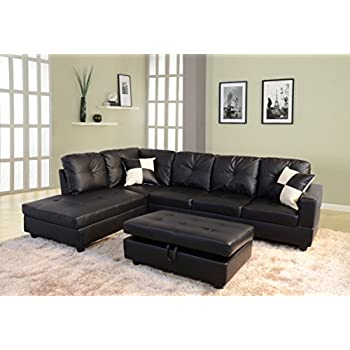 Lifestyle Black 3 Piece Faux Leather Left Facing Sectional Sofa Set With  Storage Ottoman Part 60