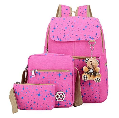 Veenajo Girls Lightweight Canvas Backpack Set Cute Patterned Bookbag Shoulder Bag School Backpacks (Pink)