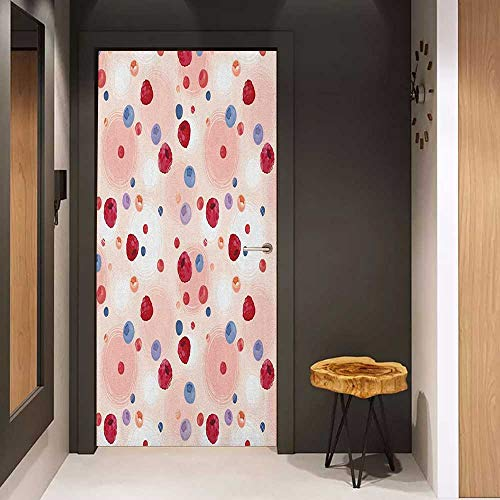 Onefzc Door Wall Sticker Peach Raspberries Blueberries Cranberries Food Themed Design with Abstract Circle Backdrop Mural Wallpaper W36 x H79 Multicolor ()