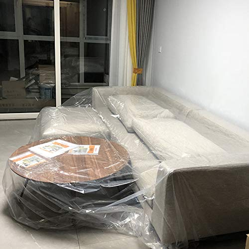 Heavy Duty PEVA Waterproof & Dustproof Sofa Storage Covers Mouldproof Bed Sofa Couch Furniture Protector Cover Shelter for Moving Protection and Long Term Storage (HZC182) (M:79