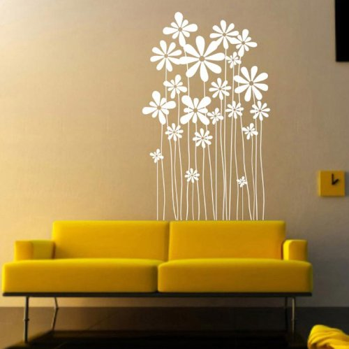 i.Life-Daisy Flowers Wall Art Decoration Decals / Window Stickers (Cream, 60cm x 37cm)