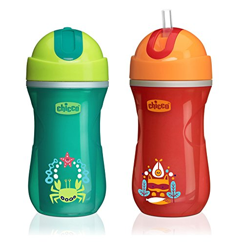 Chicco Insulated Flip-Top Straw Sippy Cup 9oz 12m+ (2pk) - Green/Orange