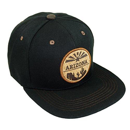 Arizona Circles - Arizona Circle Patch Embroidery Snapback Hat Adjustable State Baseball Cap (Black)