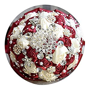 Brooch Bouquet Bride Bouquets de Mariage Artificial Crystal Wedding Flowers buque de Noiva 4 Colors FE86 15