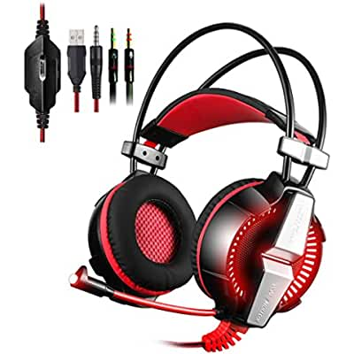 PS4 Gaming Headset Kingtop Xbox One LED Lighting Computer Headphone with Mic Stereo Bass for PlayStation4 Xbox...