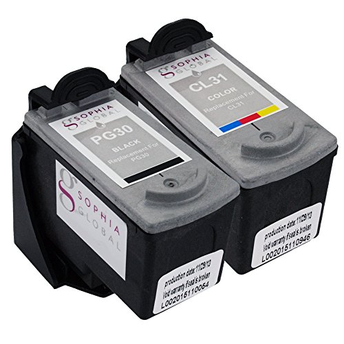 Cl 31 Printer Cartridge (Sophia Global Remanufactured Ink Cartridge Replacement for Canon PG-30 and CL-31 with Ink Level Display (1 Black, 1 Color))
