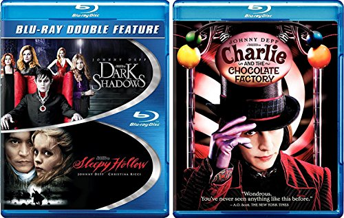 Johnny Depp Triple Feature Charlie & The Chocolate Factory Tim Burton Blu Ray + Sleepy Hollow & Dark Shadows Fantasy Action set