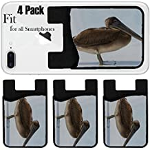 Liili Phone Card holder sleeve/wallet for iPhone Samsung Android and all smartphones with removable microfiber screen cleaner Silicone card Caddy(4 Pack) IMAGE ID: 940217 Brown galapagos pelican