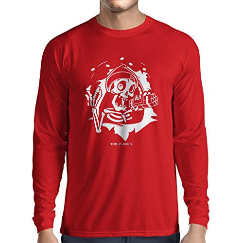 lepni.me Long Sleeve t Shirt Men The Skull - Ticking Bomb - Time is Gold Quotes (XX-Large Red Multi -