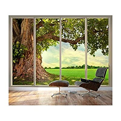 Large Wall Mural Old Tree and Meadow Seen Through Sliding Glass Doors 3D Visual Effect Vinyl Wallpaper Removable Decorating, Premium Product, Amazing Technique