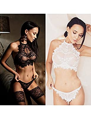 CNlinkco Women's Lace See-Through Lingerie, Sexy Floral Halter Chemises Babydoll Bodysuit with G-String