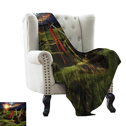 Fur Blanket King,Arthur Camelot Legend Myth in England Ireland Fields Invincible Myth Image,Green Blue and Red Cozy and Durable Fabric-Machine Washable 70