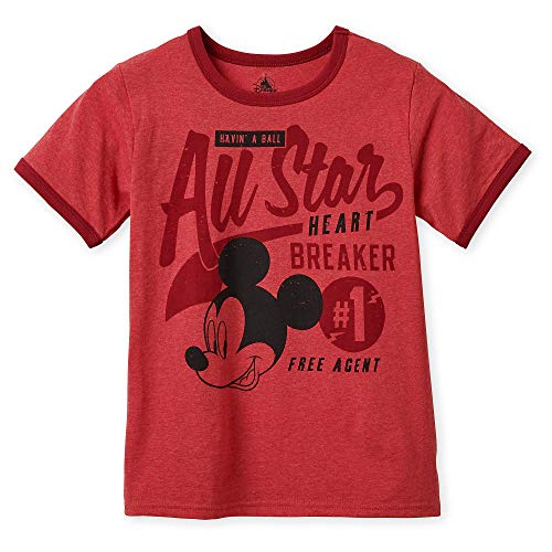 Disney Mickey Mouse ''All-Star'' Ringer T-Shirt for Boys Size M (7/8) Multi