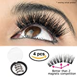 Premium Magnetic Eyelashes By GoRu Product[No Glue] | Full Eye False Lashes With Triple Magnet For 100% Natural Look | Easy To Apply, Flexible, Reusable, Comfortable & Secure | Tweezers Included