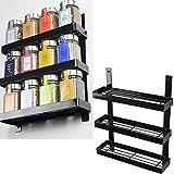 Fasthomegoods Wall Mount 3 Tiers Spice Rack Storage Pantry Organizer (Black)