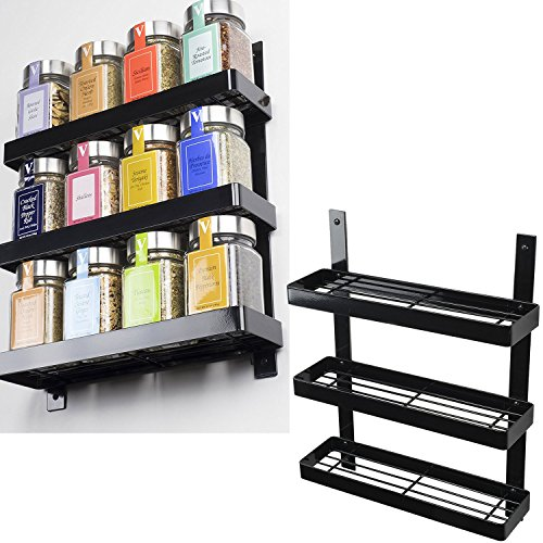 Space Saving Wall Mountable Sturdy Construction 3-Tier Spice Rack Pantry Organizer in Black (Tiered Wall Shelves)