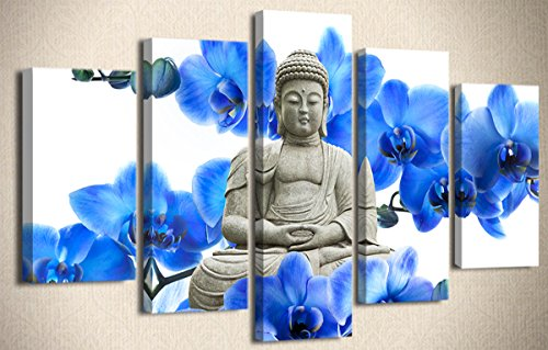 Wood Effect Buddha Head - YYL ART 5 Pieces/5 Pannel Blue And White Buddha Canvas Wall Art Wood Buddha Statue Canvas Prints Modern Giclee Bule Phalaenopsises Surround Buddha Yoga Artwork Decor Corner Painting For Living Room