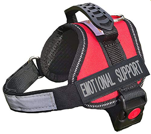 ALBCORP Emotional Support Dog Vest - Reflective Harness with Adjustable Straps and 2 Hook and Loop Removable Patches, Woven Polyester & Nylon, Comfy Mesh Padding, Sturdy Handle. XXS, Red (Best Service Dogs For Depression)