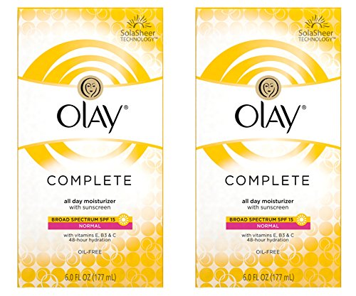 Normal Skin Oil Free Moisturizer (Olay Complete Lotion All Day Moisturizer with SPF 15 for Normal Skin, 6.0 fl oz, Pack of 2)