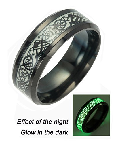 Tanyoyo Luminou Black Celtic Dragon Rings For Men Women stainless steel Wedding Band Jewelry (6)