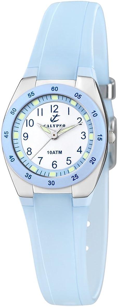 Calypso watches - Reloj analógico de cuarzo para niña con correa de poliuretano, azul