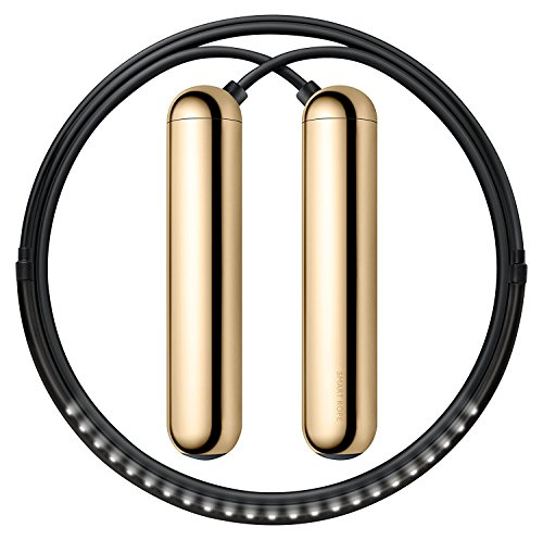 TANGRAM Factory Smart Rope - LED Embedded Jump Rope (Gold, Medium) ()