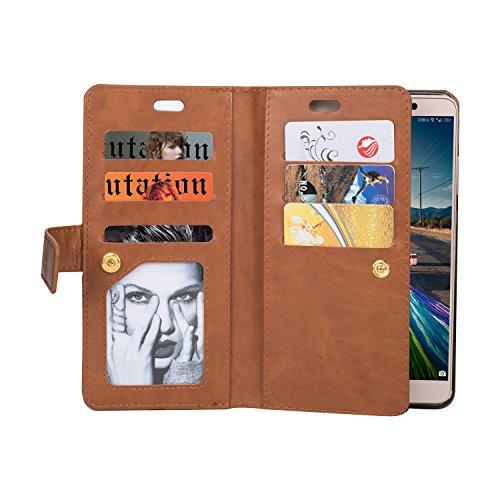 Huawei Mate 9 Case Hülle, KANTAS Brieftasche Flip Case Geldbörse mit 9 Kartenfächer PU Leder Handyhülle, Huawei Mate 9 Taschenhülle Wallet Ledertasche mit Magnet Standfunktion Geldbeutel Schutzhülle m Braun