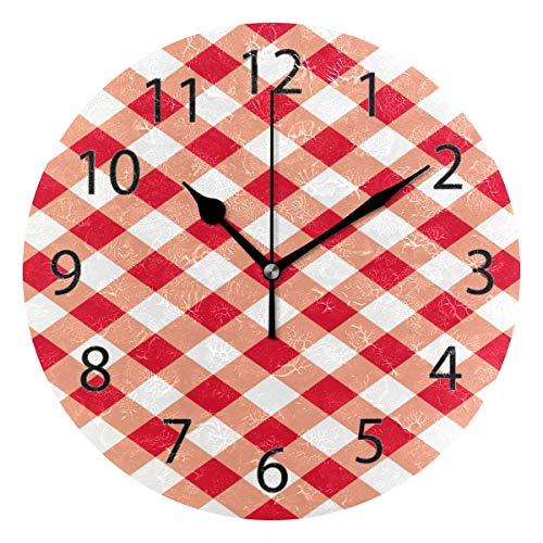 YATELI Wall Clock Shelf Round 10 Inch Diameter Red and White Plaid Seamless Pattern Gingham Table Silent Decorative for Home Office Bedroom