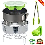 Instant Pot Accessories Set Egg Steamer Rack, Non-stick Springform Pan, Silicone Egg Bites Mold, Steaming Stand, 1 Pair Silicone Cooking Pot Mitts 6 Piece Fits 5,6,8 qt Pressure Cooker