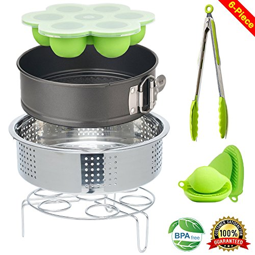 Steamer Basket Instant Pot 7 inch Springform Bundt Baking Cake Pan Baby Food Freezer Trays Silicone Egg Bites Mold with Eggs Rack Accessories Fits 5,6,8 qt Pressure Cooker Tongs Oven Mitts