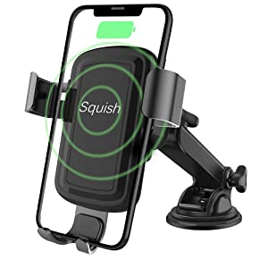 Squish Wireless Charger Car Phone Mount Dashboard Windshield Phone Holder for iPhone Xs Max/XS/XR/X/8Plus/8 and for Samsung S9/S9+/S8/S8+/Note9/Note8 & Other Smartphone
