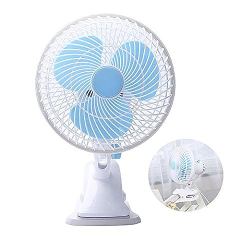 Clip-On Fan 2 Speed Adjustable Little Fans 180 Degree Rotation Desk Fan for Home Office and Car - Blue Little Fan