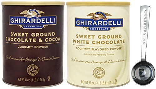 Ground Chocolate & Cocoa Gourmet Powder 3 lbs & Sweet Ground White Chocolate Gourmet Flavored Powder 3.12 lb - with Exclusive 1.5 Tbsp Measuring Spoon (Sweet Ground White Chocolate)