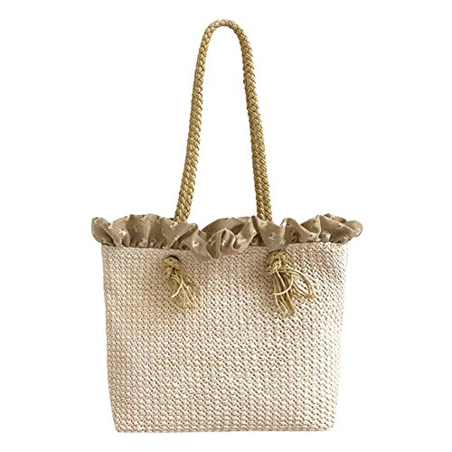 Straw Large Handbag Totes Lady Bag Summer Retro 2 Beach Shoulder AFfeco Women Casual ECtKxq