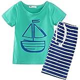 Baby Boys' Short Sleeve T-shirts and Stripe Shorts Set