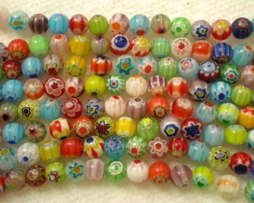 6mm Millefiori Glass Round Beads - WM KING 65pcs MIX Millefiori Flower Lampwork Glass Round Beads 6mm