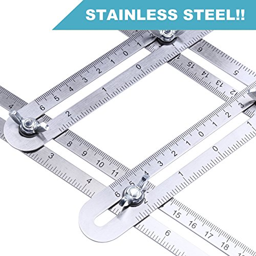 Angle Measurement Tool Stainless Steel Universal Template Measure Angular Ruler Engraved Scale with Bag and 2 Extra Knobs for Carpenter Woodwork Tile Floor Installation Engineering DIY Roofing Tools (Plastic Roofing Tile)