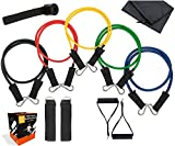 Cheap Fit On The Go Resistance Band Set – 11pc Latex Physical Therapy, Exercise, Fitness Training Bands 5 Color Coded Exercise Bands, Handles, Carrying Case, Door Anchor Ankle Strap