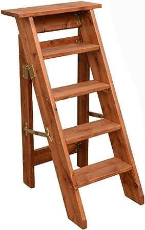 Oficina banquetas de 5 pasos Escalera del taburete del hogar de madera sólida escalera Silla plegable