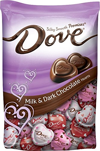 DOVE PROMISES Valentine Milk and Dark Chocolate Candy Hearts Variety Mix 19.52-Ounce Bag (Dove Tin)