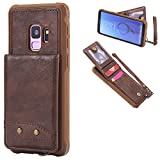 DAMONDY Samsung S9 Case, Luxury Wallet Purse Card Holders Design Cover Soft Shockproof Bumper Flip Leather Kickstand Magnetic Clasp With Wrist Strap Case for Samsung Galaxy S9-coffee