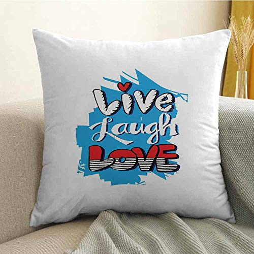 Live Laugh Love Silky Pillowcase Abstract Grunge Graffiti Happiness Invoking Message Wall Art Design Super Soft and Luxurious Pillowcase W24 x L24 Inch Blue Red Black