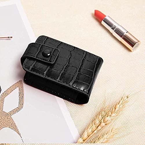 Lipstick Case,Lipstick Organizer with Mirror,Lipstick Holder for Purse,Portable Mini Bag for Lipstick,Hold 2 Lipstick or Lip Gloss(Black)