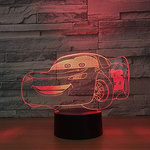 kkkmb 3D Night Lightnew 3D Night Lights Racing Total Lightning McQueen USB Led Table Lamp 3D Slides Children's Kids Bedroom Decoration Living Room Lights -