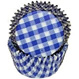 Oasis Supply Baking Cups, Mini 100-Count, Blue Gingham
