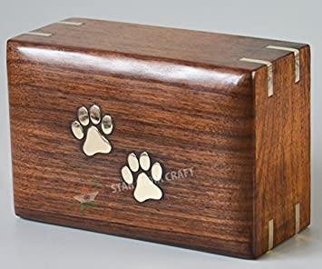 STAR INDIA CRAFT Wooden Urn – Pet Urns for Dogs Ashes, Decorative Wooden Pet Urns for Ashes – Rosewood Cremation Urns for Dogs, Pet Urns for Cats, Wooden Cremation Box